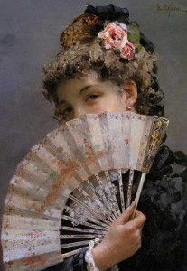 Edoardo Tofano (1838-1920) Mujer con abanico